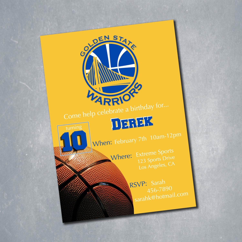 Golden State Warriors Digital Birthday Invitation. by ...