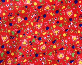 Original Vintage Retro 1960s 1970s style Cute Red Yellow Hearts Flowers Fruit Cotton Fabric