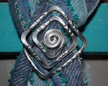 Funky square scarf ring (for thin or thick scarf), metal, wire jewelry