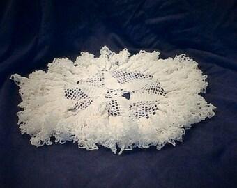 White Ruffled Hand Crocheted Doily!!!!