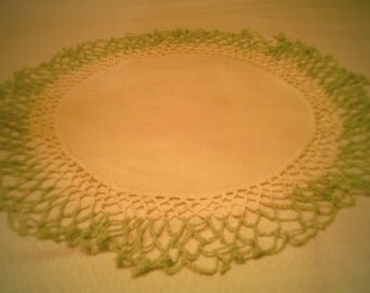 A Lovely Linen and Hand Crocheted Round Doily!!!