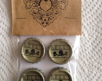 Craft Beer Bottle Cap Magnets - Bell's Brewery Inc Beer Bottle Caps // Upcycled Recycled Repurposed