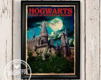 Hogwarts Retro Travel Poster - Harry Potter inspired print - Vintage style