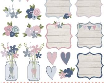 Wood effect floral frames,mason jars, bunting,flowers, digital clip art set