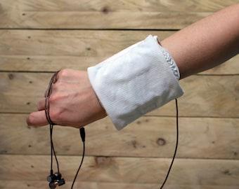 Runing Light blue Purse -White Velvet Wrist wallet- Travel Party Wristlet-Bracelet-Women Phone case