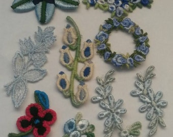 13 Pieces Large Mix Blue Rose Flower Applique Embroidery Sew On Flower Patch