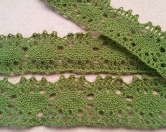 2 Yards GREEN Lace Trim Cotton Embroidery Lace Trim 1.25 Inches Wide
