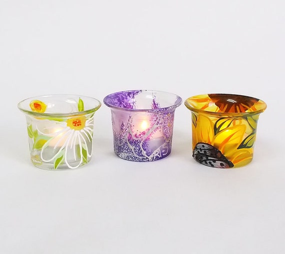 Hand Painted Glass Candle Holders Set Of