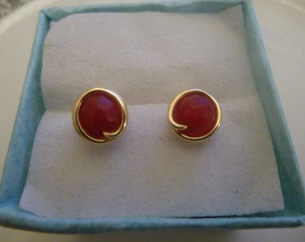 Ruby Gemstone Wire wrapped Earings.