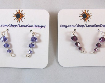 Ear Climber Earrings Swarovski Crystal- Purples- Four colors to choose from.
