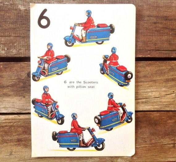 Vintage scooter book page illustration vesper blue scooter for Motor scooter blue book