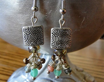 Handmade Square Swirl Earrings // Swirls // Sparkles // Abstract // Chic //Boho Jewelry