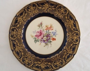 Collectible mid century  1940 Royal Doulton Made in England Large decorative plate display dinner plate w/ blue gold gilt floral pattern