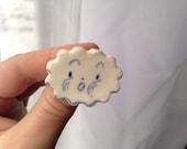 blustery lil cloud porcelain ceramic pin-back brooch