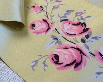 Antique haute couture jacquard woven hand printed silk scarf sample 1920 cornflower yellow, pink black rose motif, Saks Fifth Avenue cushion