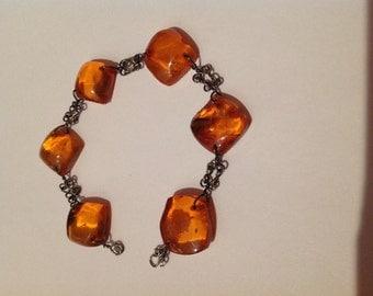 Vintage Antique Genuine Baltic Amber Bracelet Sterling 15g