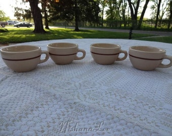 Jac-Tan Nitrified Jackson China Restaurant Ware Tan with Brown Stripe Set of 4 Coffee Cups