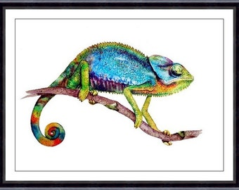 CHAMELEON Watercolor Art Print , Watercolor Painting, Print Colorful Chameleon 107