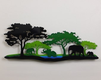 "African Elephant Scene A - Metal Wall Art - 23""Wide - Five layers - Large Front Tree Left - (AA2sl-)"