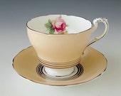 Antique PARAGON Tea Cup and Saucer, Teacup Set, By Appointment to Her Majesty The Queen, Registered, England, Peach w/ Pink Roses 1939-1949