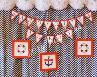 Nautical Themed Baby Shower Banner, It's a boy Banner, Red, Blue, White Banner, Baby Shower Banner