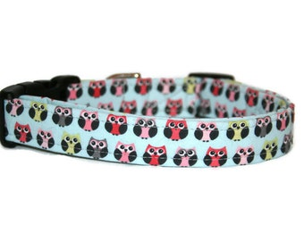 Multi Colored Owls Dog Collar