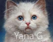 Kitten artwork. Cat Art. Cat Portrait. Original Pastel Drawing. Framed
