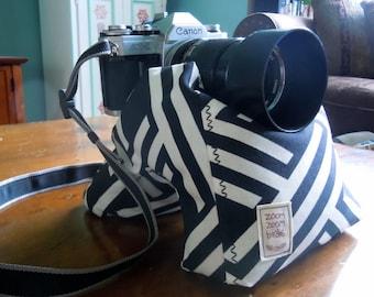 Contoured Camera Bean Bag, Tripod Weight, Stabilizer, Bean Pod - Black and White Criss Cross