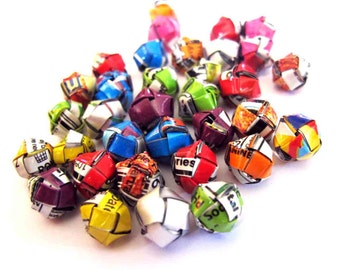50 balls origami recycled to make jewelry
