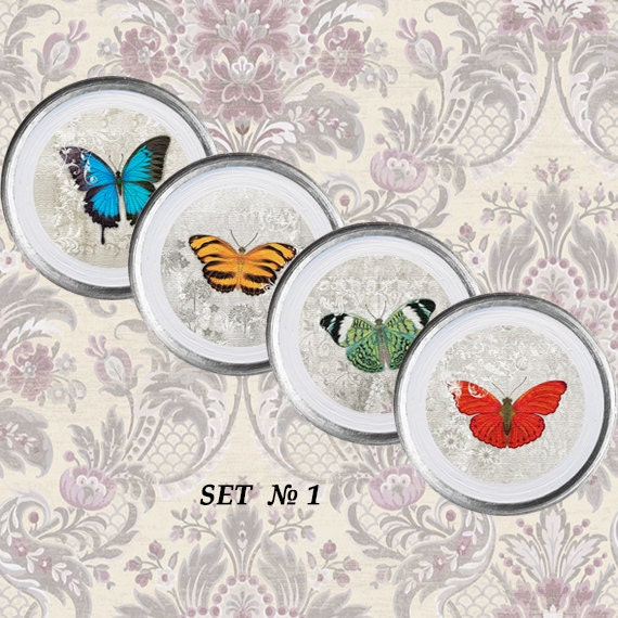Https Etsy Com Listing 204680578 Butterflies Home Decor 4 Plates Set Wall