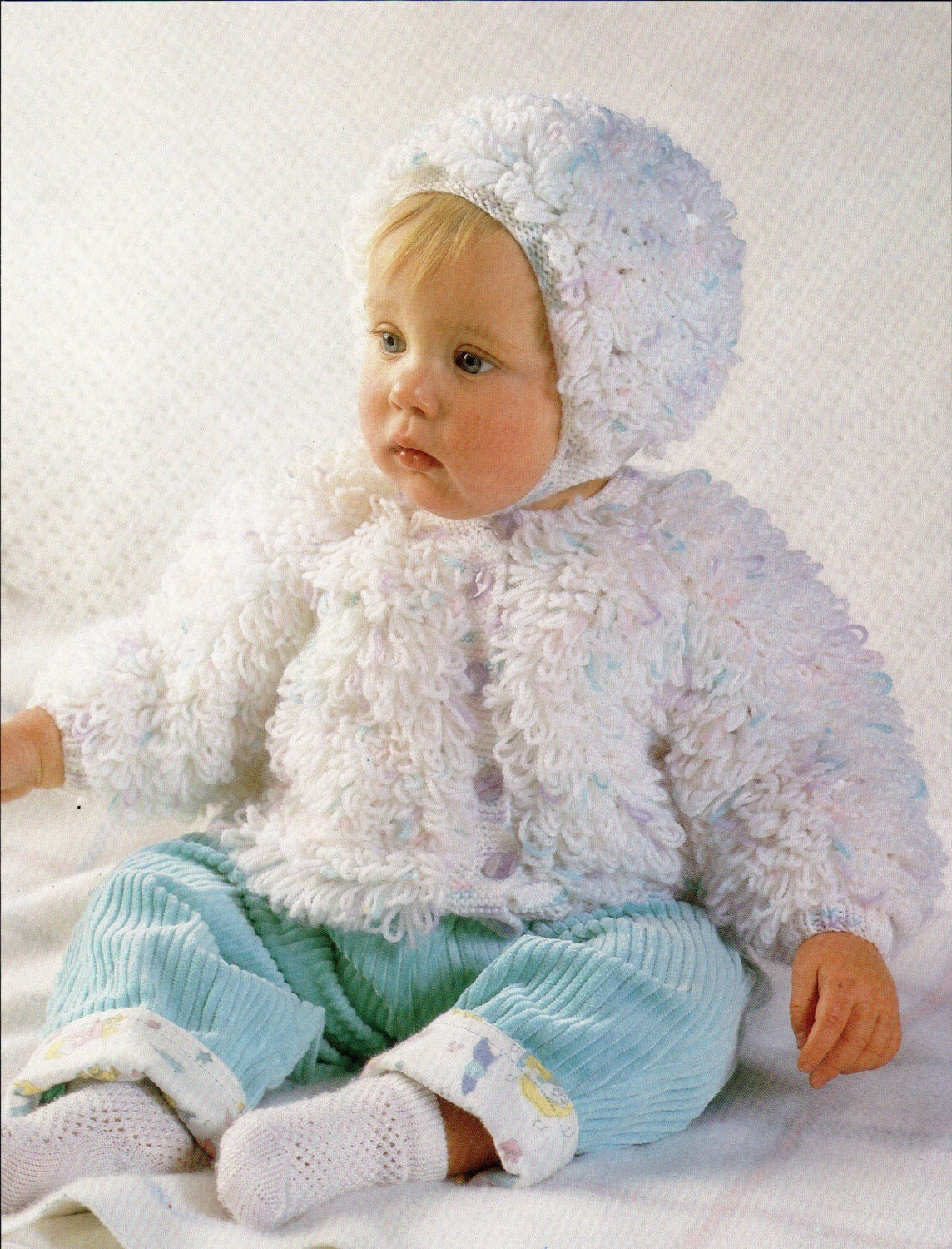 Loopy Cardigan Knitting Pattern : Baby knitting pattern loop stitch cardigan bonnet