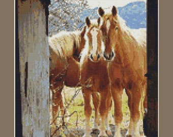 Horses Looking In Counted Cross Stitch Pattern in PDF for Instant Download
