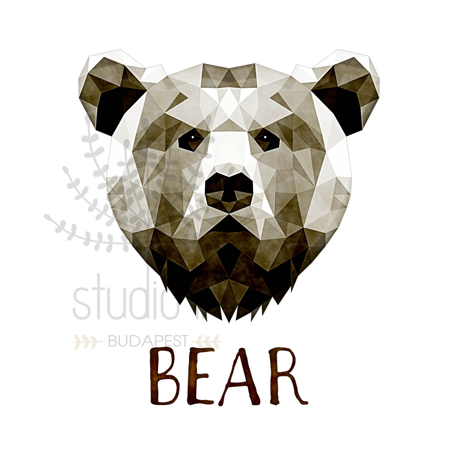 Geometric Bear Head Drawing