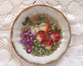 Vintage China Plate, Fruit Pattern, Fruit Decor, Wall Plate,  Lusterware Plate, Vintage Lusterware, Bread Plate, Dessert Plate