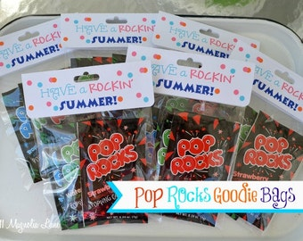 """Pop Rocks """"Have a Rockin' Summer"""" Printable Treat Bag Toppers (Customized) -- Perfect for End of School Gifts,  Birthdays, or Favors"""