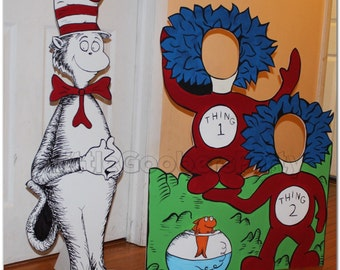 Dr Seuss Photo Booth Prop . Thing 1 Thing 2 Face in Hole Cutout . 1 Hand Painted Photo Op