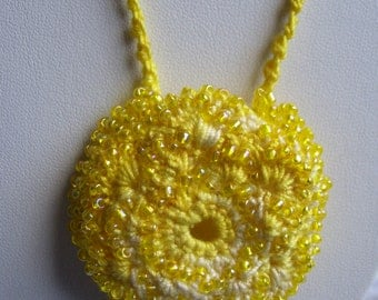 Hand Crocheted Yellow Bustle Necklace
