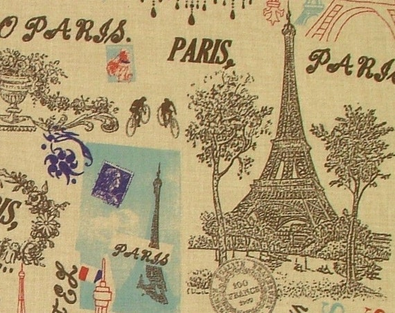 eiffel tower fabric designer cotton fabric by the yard cushion fabric french vintage style. Black Bedroom Furniture Sets. Home Design Ideas