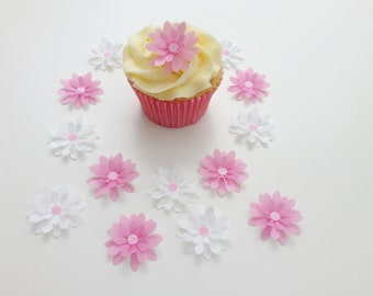 14 Edible Pink and White 3D Wafer Flowers Cupcake Toppers Precut