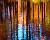 Colorful Tree Reflection in Water Fine Art Photography Wall Photo Print, Abstract Art Ocean Cape Cod Sky Blue Orange Trees Nautical Fall