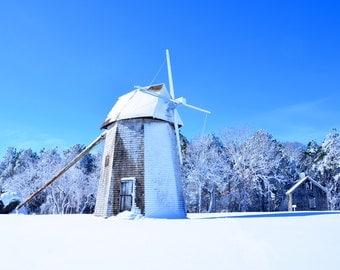 Brewster Windmill Fine Art Photography Wall Photo Print, Higgins Farm Wind Mill Drummer Boy Park Cape Cod MA Winter Snow Blue Sky Nautical