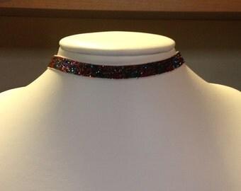 Glitter ribbon choker ~ confetti rainbow sparkle