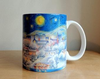Coffee Mug, Ithaca NY, Art Mug, Cornell University, Ceramic Mug, Starry Night Watercolor by Cheryl Chalmers
