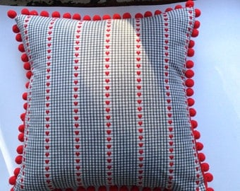 Grey Checked with Red Hearts Cushion