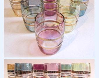 Set of 6 Vintage 60's Short or (Double!) Shot Glasses Pearlescent Colours, Gilt.