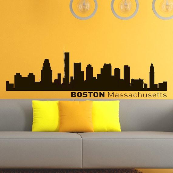 Vinyl Wall Decals Boston Skyline City Silhouette Sticker Home