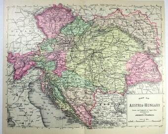 Original Johnson's 1893 Copper Plate Map of Austria Hungary