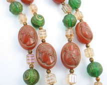 West Germany CAMEO BEADS Vintage NECKLACE Red, Green, Pink With Goldtone and Silvertone Accents, Goldtone Metal 30""