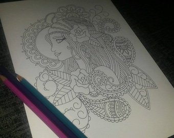 Adult Colouring Page, Paisley Gypsy Girl