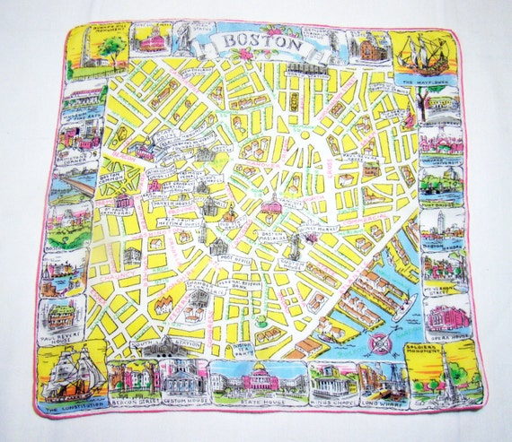 BOSTON Old City Hankie Historic Landmarks Map Souvenir
